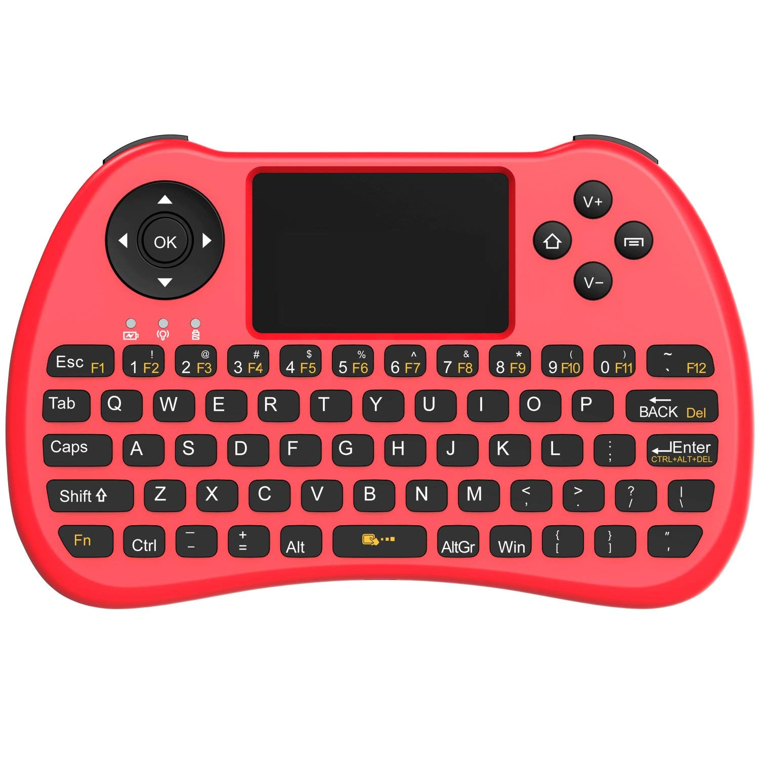 Aerb 2.4GHz Mini Wireless Keyboard with Mouse Touchpad Rechargeable Combos for PC, Pad, Google Android TV Box and More (Red)