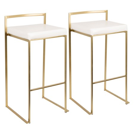 Fuji Contemporary Barstool in Gold and White PU by LumiSource- Set of