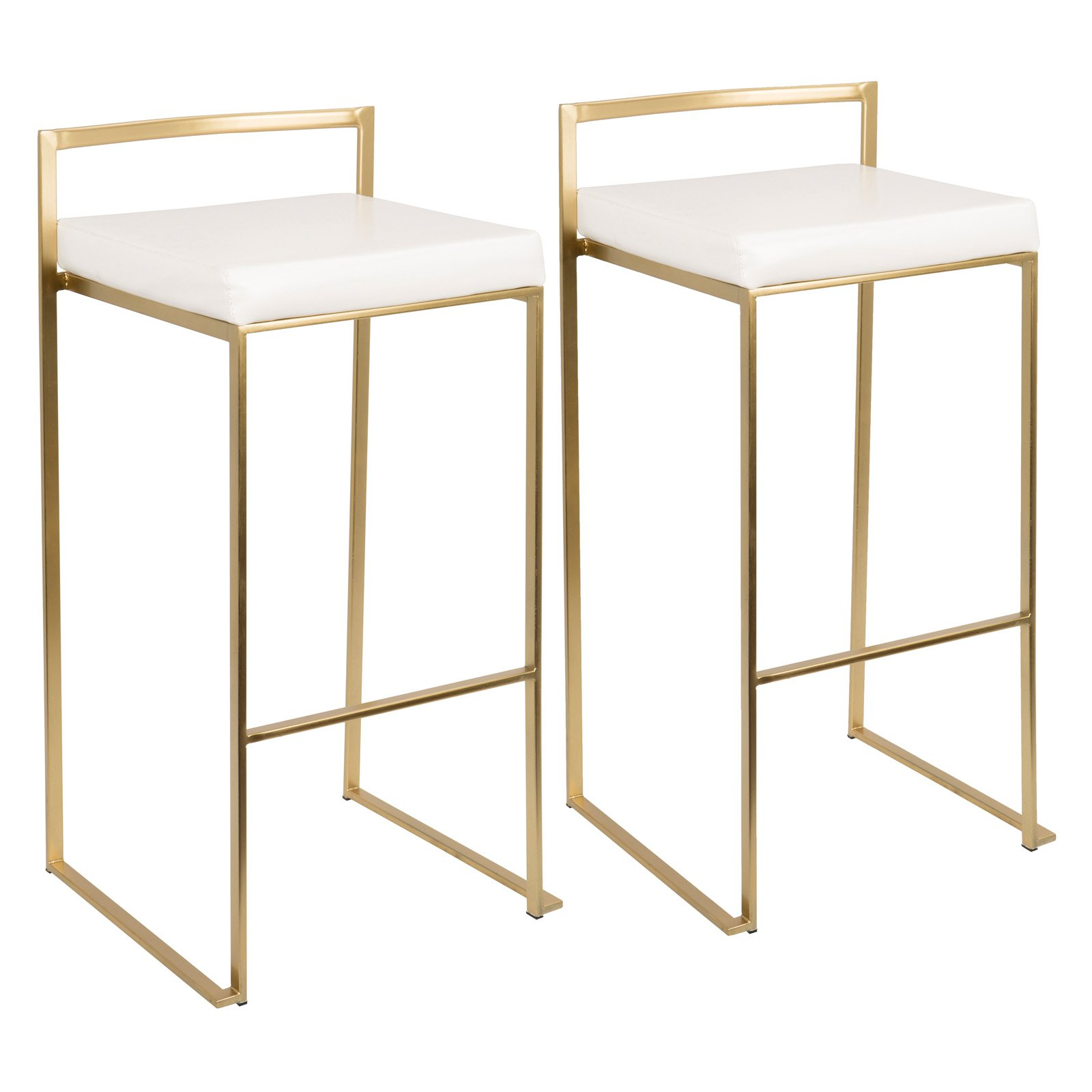 Fuji Contemporary Barstool in Gold and White PU by LumiSource- Set of 2