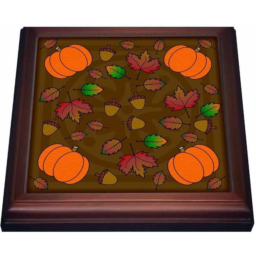 3dRose Thanksgiving Print Fall Leaves, Acorns and Pumpkins, Trivet with Ceramic Tile, 8 by 8-inch