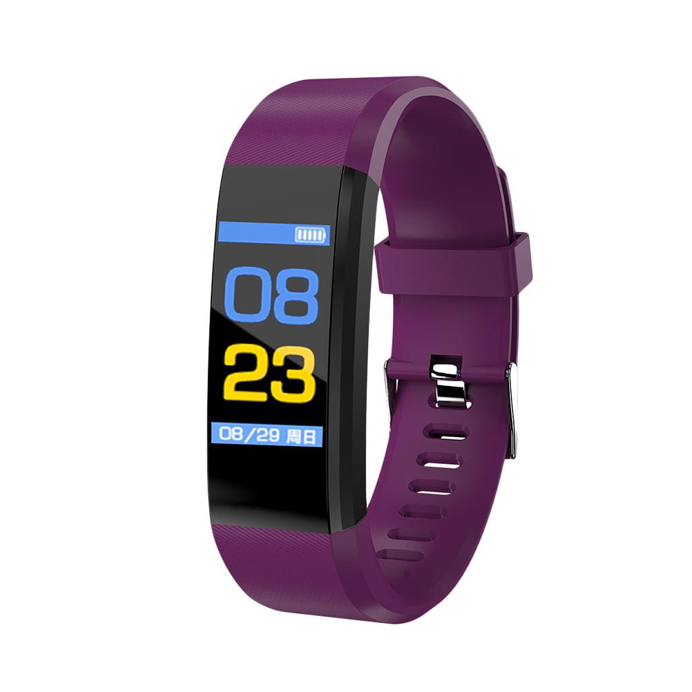 ID115plus Smart Bracelet Smart Band Blood Pressure Heart Rate Monitor Fitness Tracker Smart Watch IP67 Waterproof Pedometer Bluetooth Wristband (Purple)