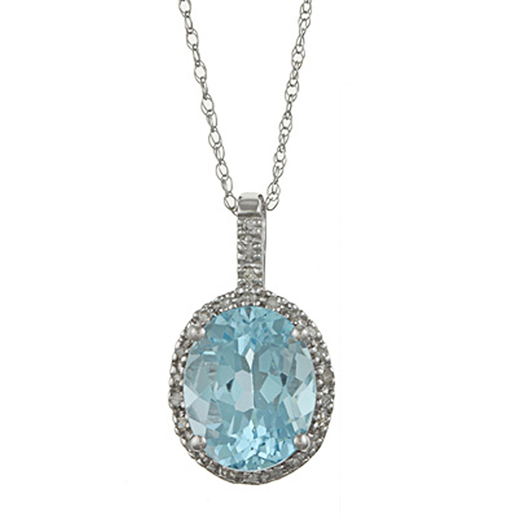 10k White Gold Oval Blue Topaz and Diamond Halo Pendant Necklace by Designer Diamonds