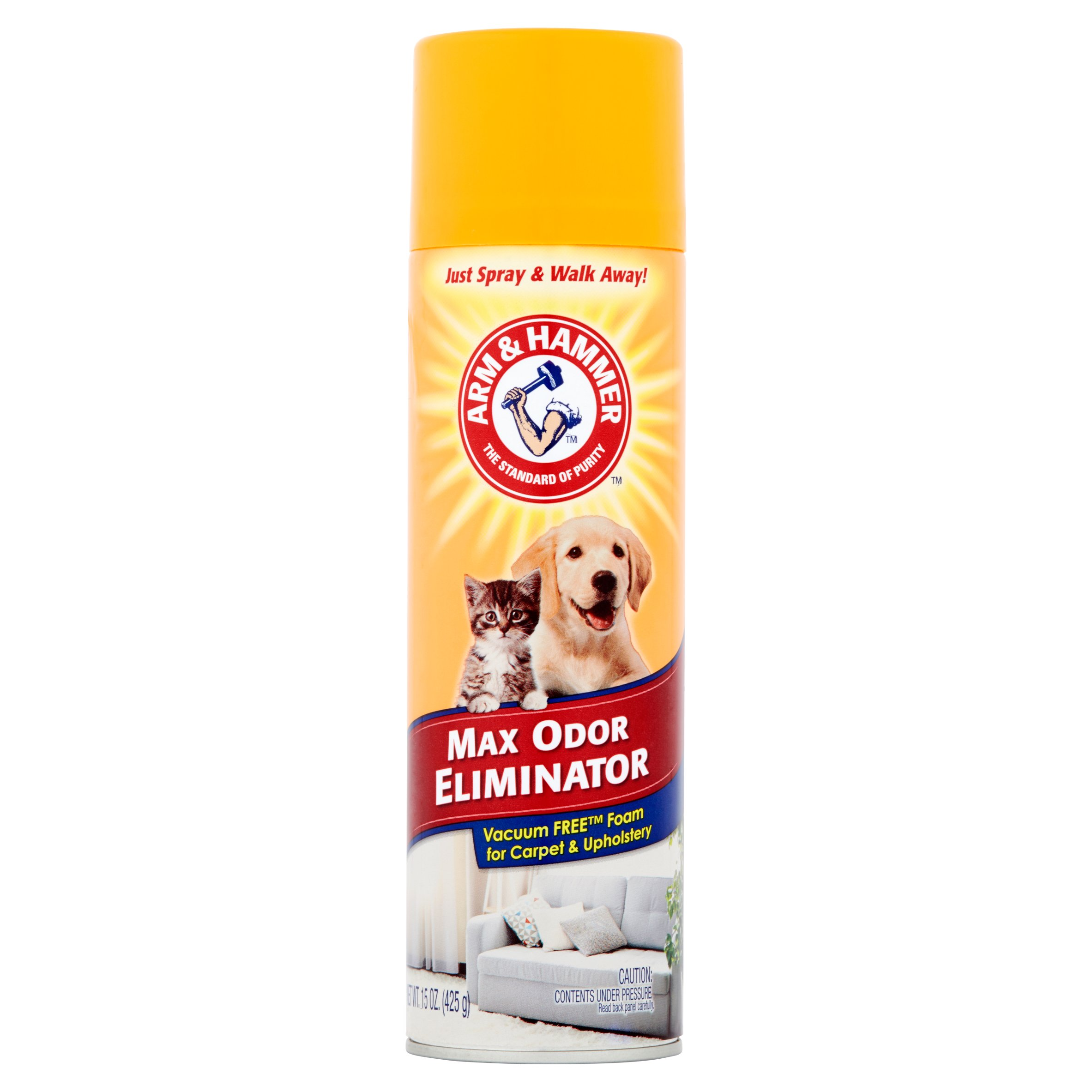 Arm & Hammer Max Odor Eliminator, Vacuum Free Foam for Carpet & Upholstery, 15 Oz.