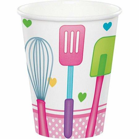 Little Chef Cook Baking Food Kitchen Girls Kids Birthday Party 9 oz. Paper Cups (Creative Cooks Kitchen)