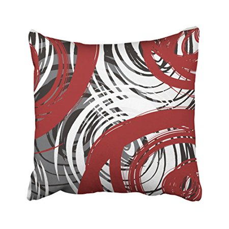 WinHome Red And Black White Gray Spiral Design Pattern Retro Abstract Elegant Multicolor Polyester 18 x 18 Inch Square Throw Pillow Covers With Hidden Zipper Home Sofa Cushion Decorative Pillowcases