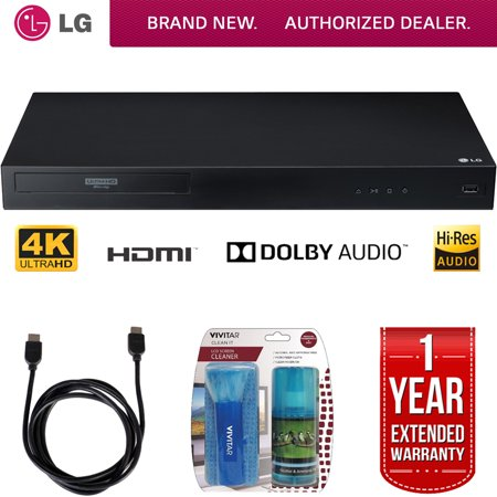 LG UBK80 4k Ultra-HD Blu-Ray Player w/ HDR Compatibility + LCD Screen Cleaner w/ Micro Fiber Cloth and Cleaning Brush + 6ft High Speed HDMI Cable (Black) + 1 Year Extended