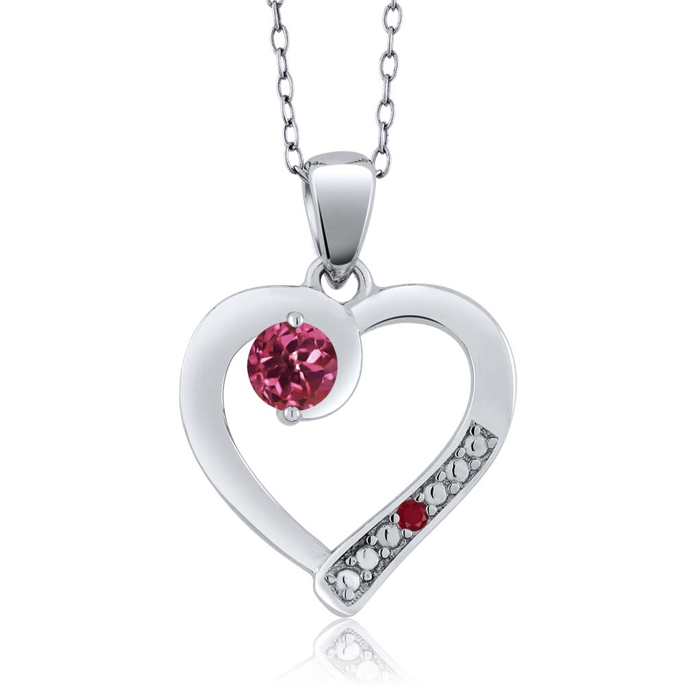 0.26 Ct Round Pink Tourmaline Red Ruby 18K White Gold Pendant by