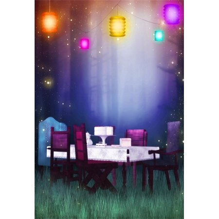 MOHome Polyester Fabric 5x7ft Girl Photography Studio Backdrops Toddler Photo Shoot Background Dreamy Outdoor Party Table Chairs Lamps Grass Floor Child Kid Art
