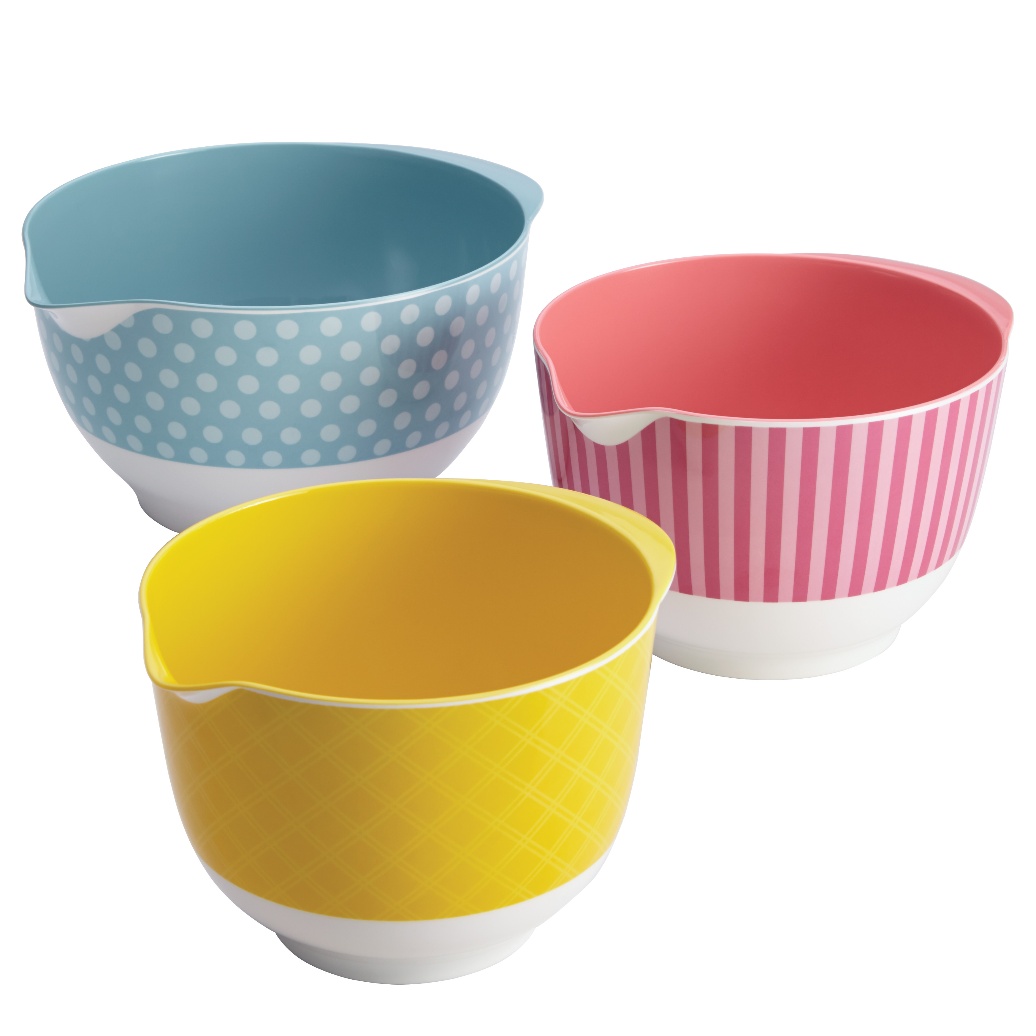 Cake Boss Countertop Accessories 3-Piece Melamine Mixing Bowl Set, Basic Pattern
