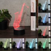 Saxophone 3D Lamp Optical Illusions Night Light 7 Color Change LED Lamp USB Cable Smart Touch Remote Control LED Desk Table Lamp for Gifts Kids Children Home Decor
