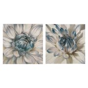 "Masterpiece Art Gallery Daytime Dahlia I & II Blue By Studio Arts Canvas Art Print Set of 2 16"" x 16"""