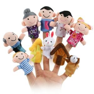 LeadingStar 10 Pcs Cute Cartoon Finger Puppet Set Soft Velvet Dolls Props Toys with 6 People + 2 Animals + 2 Houses