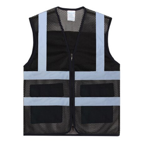 GOGO Unisex Volunteer Vest Safety Reflective Running Cycling Vest with Pockets-Black-XL ()