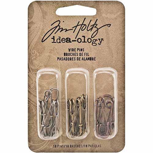 """Idea-Ology Wire Pins, .25"""" x 1"""", 18/pkg, Antique Nickel, Brass & Copper/6 Each"""