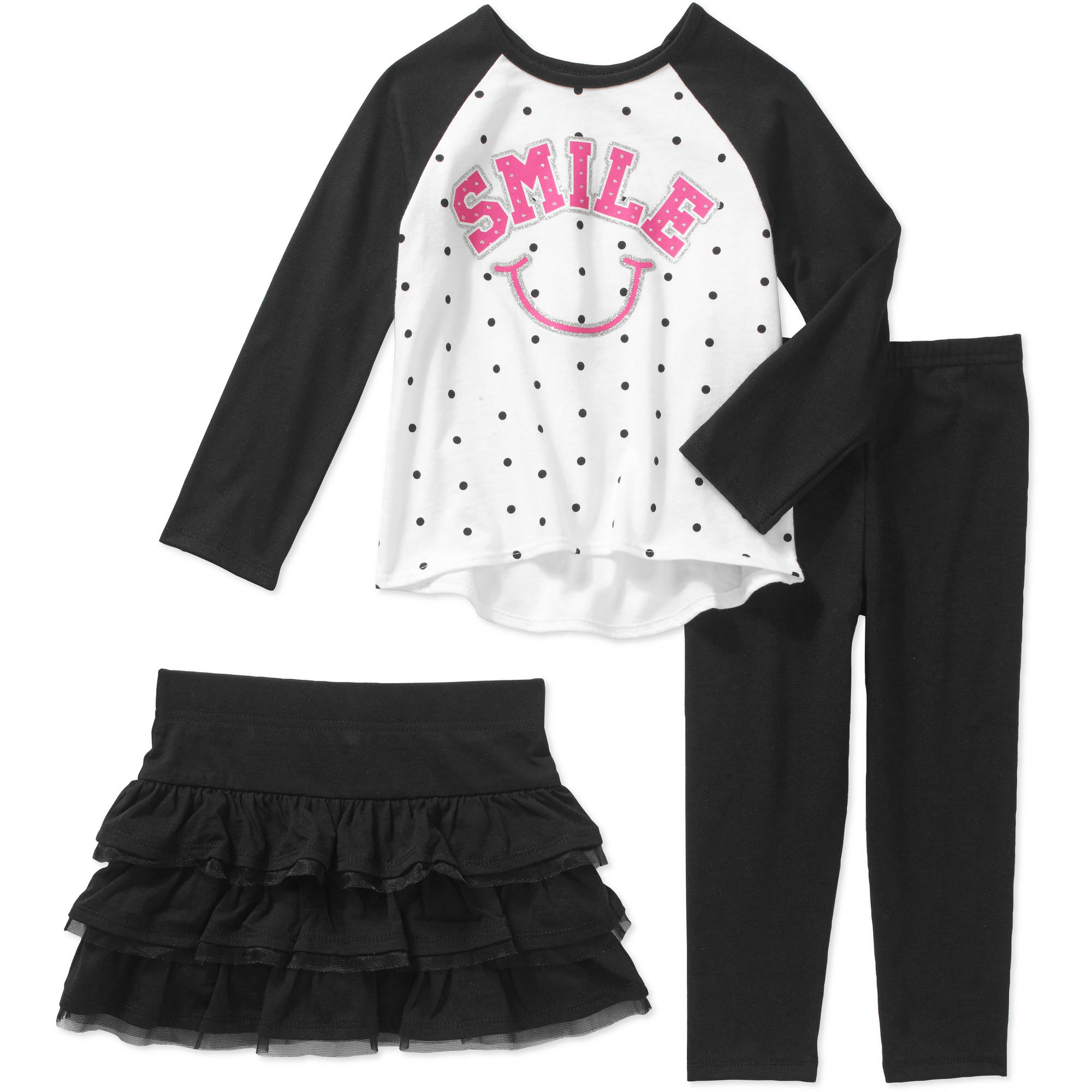 Garanimals Baby Toddler Girls' 3-Piece Long Sleeve Graphic Raglan Tee, Leggings and Skort Set
