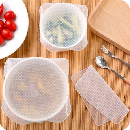 4Pcs/lot Reusable Silicone Wrap Seal Food Fresh Keeping Wrap Lid Cover - image 3 de 5