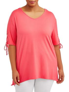 92a825c056ce38 Product Image Women s Plus Size Tie Sleeve Top
