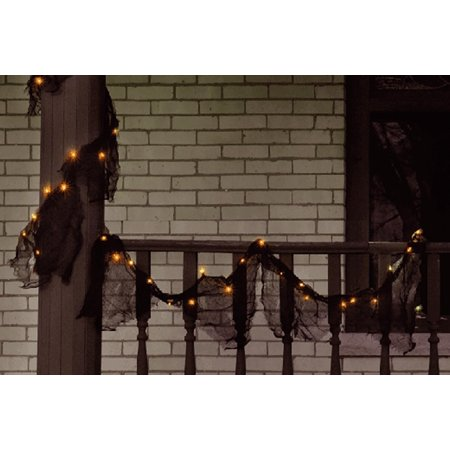Black Lighted Garland with Orange Lights Halloween - Halloween Light Displays Music