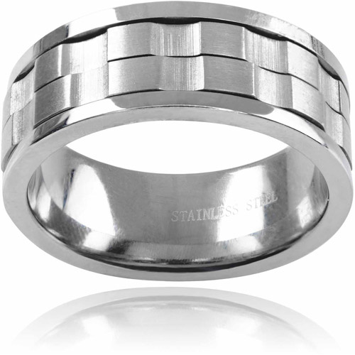 Daxx Men's Stainless Steel Spinner Ring