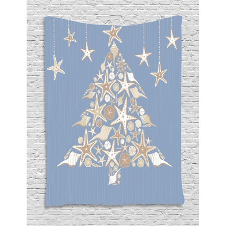 Nautical Christmas Theme.Christmas Tapestry Nautical Elements Sea Life Theme With Noel Tree Winter Season Wall Hanging For Bedroom Living Room Dorm Decor Beige Cream Pale