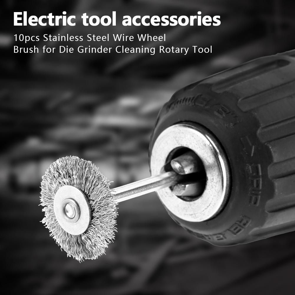 Steel Wire Polishing Brush 10Pcs 25mm Mini Stainless Steel Wire Brush Polishing Wheel for Grinder Rote Tool