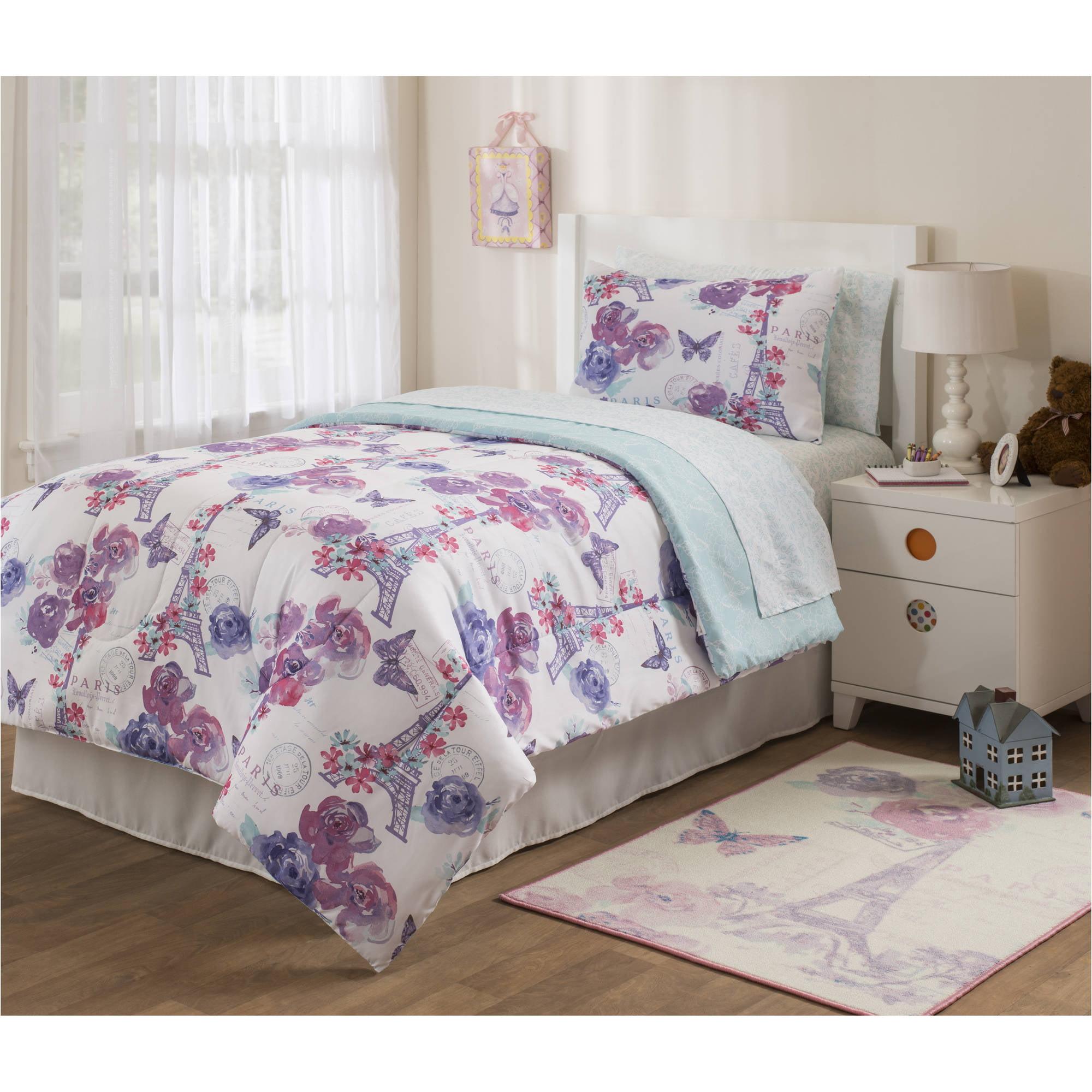 Mainstays Kids Paris Lavender Bed In A Bag Bedding Set