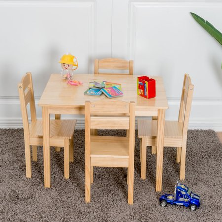 Gymax Children Play Table Chair 5PCS Set Pine Wood Kids (Wood Play Table)