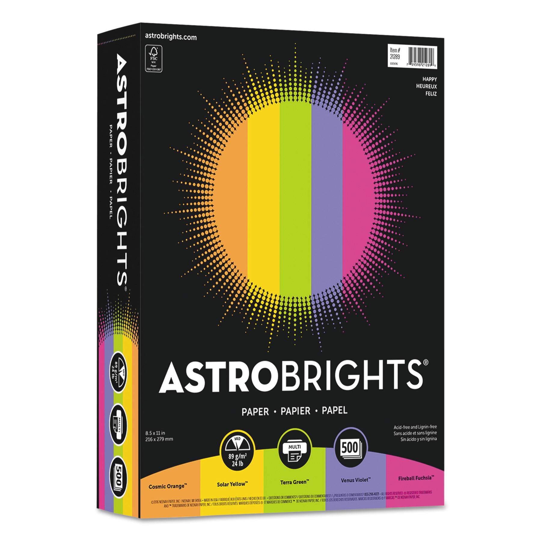 """Astrobrights Color Paper - """"Happy"""" Assortment, 24lb, 8 1/2 x 11, 5 Colors, 500 Sheets -WAU21289"""