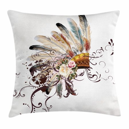 Feather Throw Pillow Cushion Cover, Native American Symbol with Floral Arrangements Head Wear Flowers Swirls Shapes, Decorative Square Accent Pillow Case, 18 X 18 Inches, Multicolor, by Ambesonne (American Native Flowers)