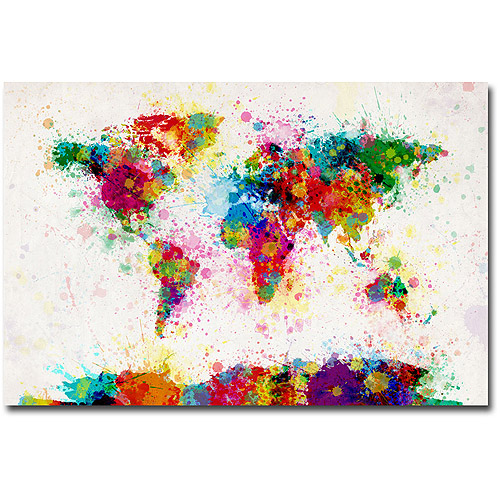 "Trademark Art ""Paint Splashes World Map"" Canvas Art by Michael Tompsett"