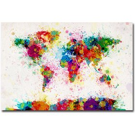 Trademark art watercolor world map ii canvas art by michael trademark art paint splashes world map canvas art b gumiabroncs Image collections