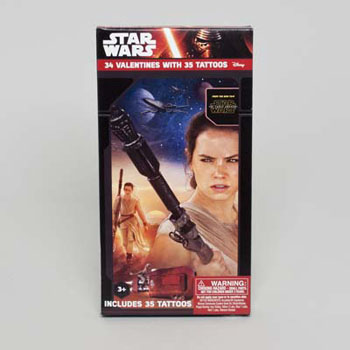 VALENTINE CARDS 34CT DELUXE STAR WARS W/TATTOOS, Case Pack of 28