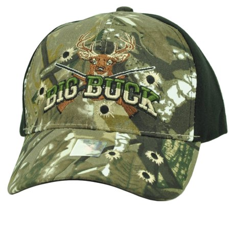 Big Buck Hunter Hunting Hunt Deer Black Camouflage Camo Adjustable Hat Cap