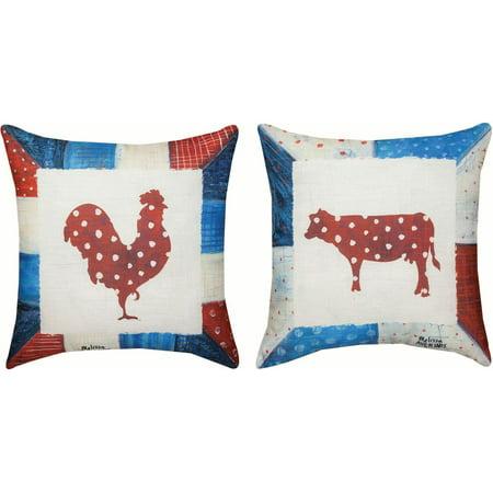Modern Americana Rooster & Cow -Ma-18 Dye Pillow