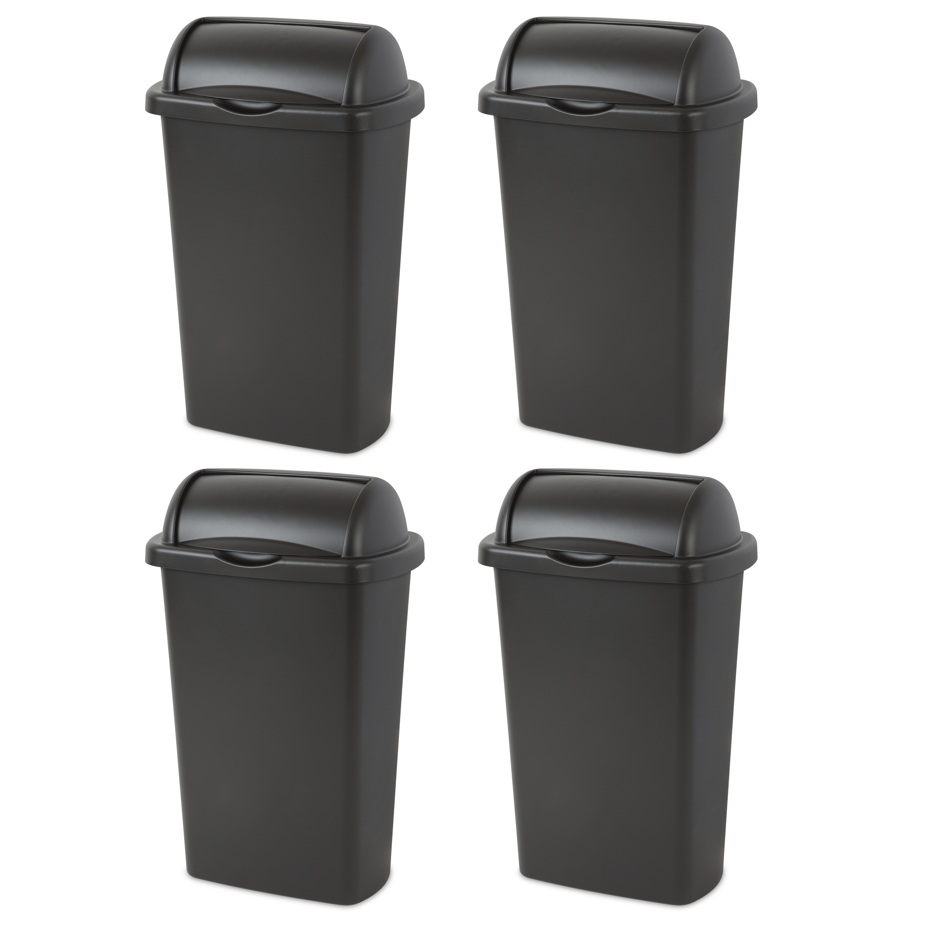 Sterilite, 13 Gal./49 L Roll Top Wastebasket, Black , Case of 4