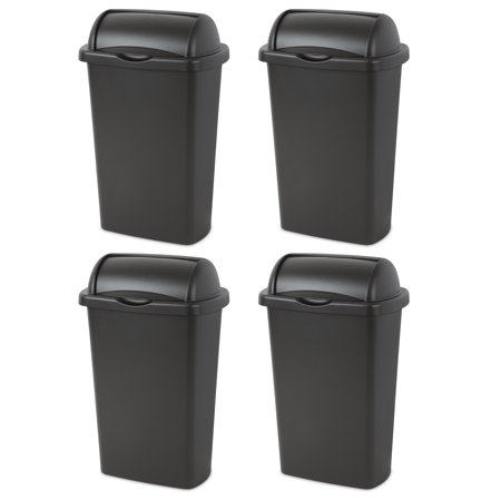 Sterilite 13-Gallon (49 L) Roll Top Wastebasket, Black, Case of 4