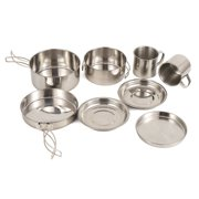 Jianama 8pcs Outdoor Camping Picnic Cookwares Stainless Steel Cooking Bowl Pan Set