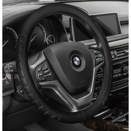 FH GROUP Microfiber Embossed Leather Steering Wheel Cover, Black Black Leather Steering Wheel Cover