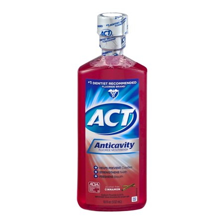 (2 pack) ACT Cinnamon Anticavity Fluoride Mouthwash, 18