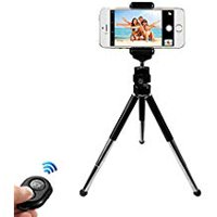 Metal Phone Tripod Stand,Adjustable Portable Camera Tripod Holder for iPhone Android Phones Gopro Action Camer