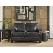 Lazzaro Nathan Leather Loveseat in Charcoal