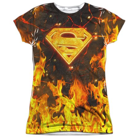 Superman Fire Logo Juniors Sublimation Shirt