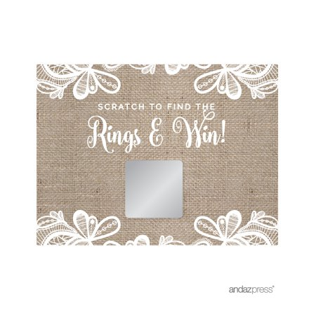 Burlap Lace Wedding Bridal Shower Game Scratch Cards, - Fun Wedding Shower Games