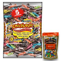 Tootsie Roll Child's Play Candy, 5 lbs. Plus 8oz Coney Island Rainbow Gumballs Perfect For All Ocassions Halloweeen, Back to school, Thanksgiving, Christmas, New Years,Valentines day