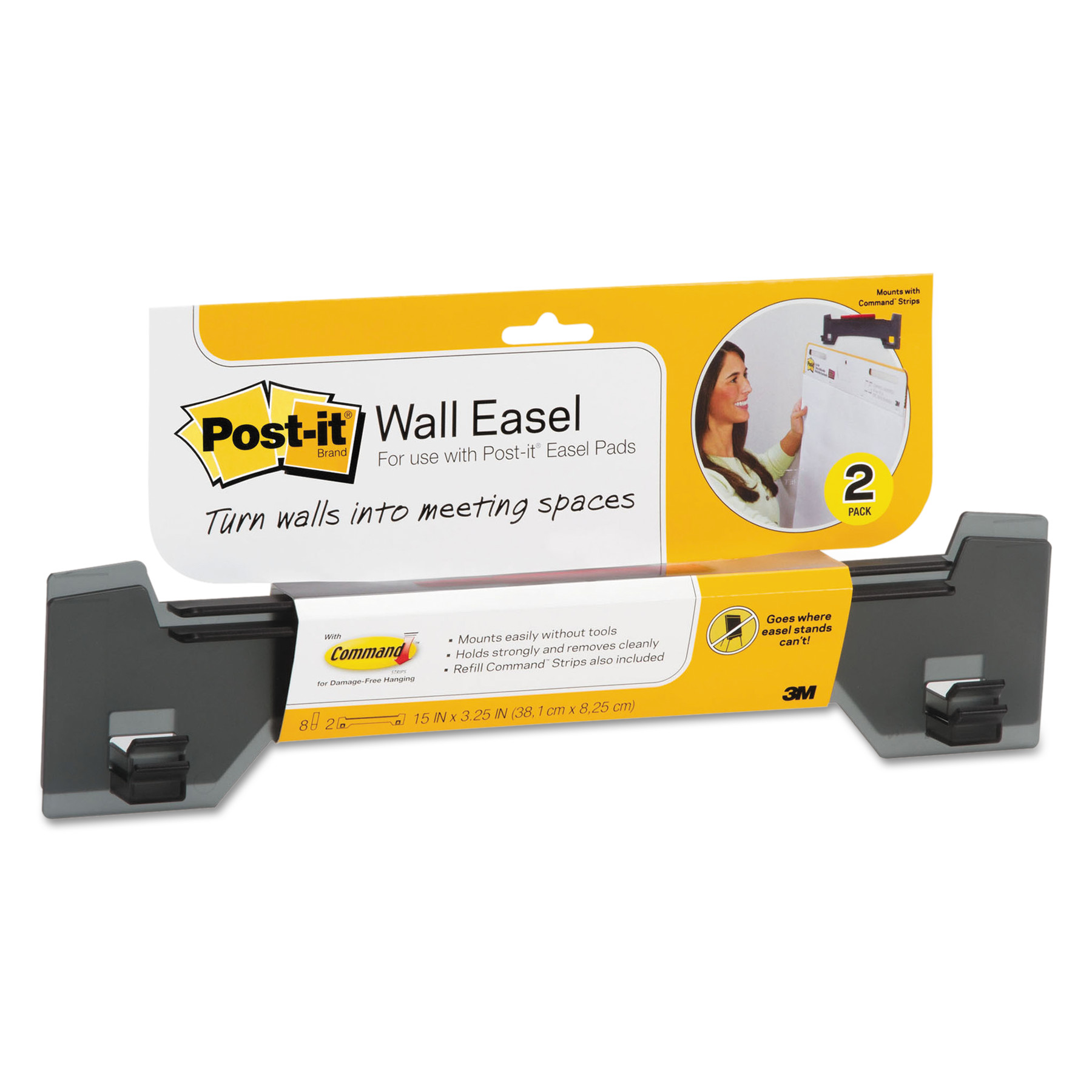Post-it Wall Easel, Adhesive Mount, Plastic, Smoke, 2/Pack ...