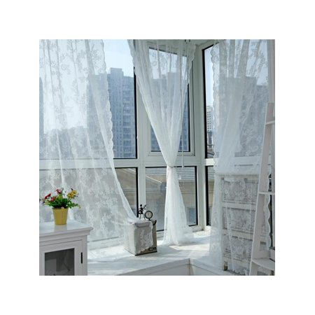 Lavaport Lace Floral Net Curtains Voile Window Panel Drape Valances Door Divider Decor