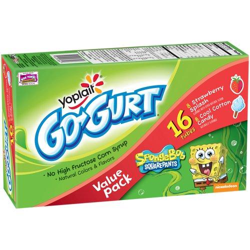 Yoplait? Go-Gurt? SpongeBob SquarePants? Strawberry Splash/Cool Cotton Candy Low Fat Yogurt Variety Pack 16-2.25 oz. Tubes