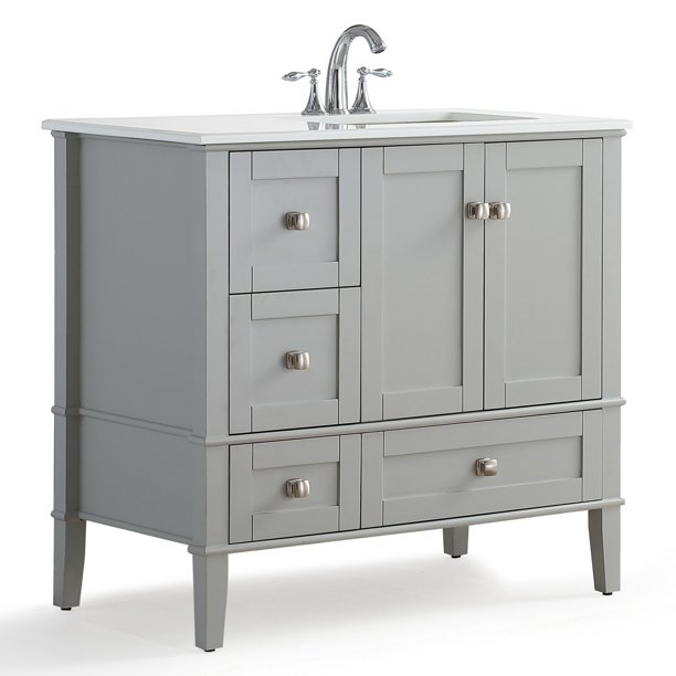 Simpli Home Chelsea 36 Right Offset Bath Vanity With White Quartz Marble Top Walmart Com Walmart Com
