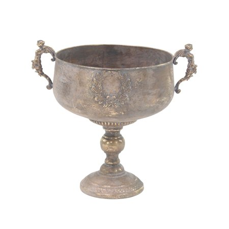 Decmode 18 X 14 Inch Traditional Iron Chalice Urn Planter, Tarnished Brass