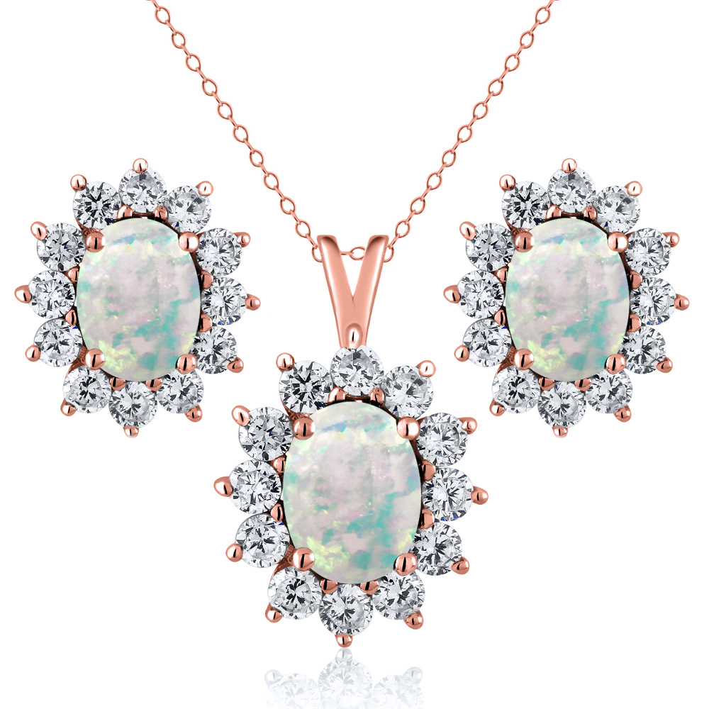 2.91 Ct Cabochon Simulated Opal 18K Rose Gold Plated Silver Pendant Earrings Set by